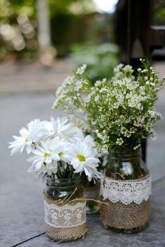 Burlap and lace mason jars