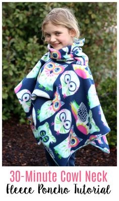 2 yards of fleece and 30 minutes of time is all you need to make this darling cowl neck fleece poncho that is perfect for snuggling up in on a cool day! It even has a hood! Double layered with a cozy… Fleece Projects, Diy Sewing Projects, Sewing Projects For Beginners, Sewing Hacks, Sewing Tutorials, Sewing Tips, Simple Projects, Tutorial Sewing, Sewing Ideas
