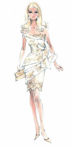 "Robert Best Barbie ""Glimmer of Gold"" Fashion Print - 8x10"