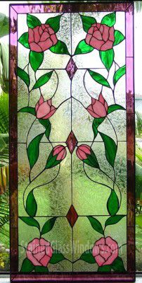 The Mirrored Rose Vine Leaded Stained Glass Window Panel can be custom made to any size or colors you need for your specific project.