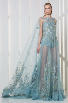 Tony Ward RTW FW 17/18 I Style 01 I Ice blue lace romper with a sheer overskirt and cape, embroidered with silk flowers and gold crystals