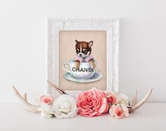 Art Print Watercolor Illustration Cute Little Dog Chic