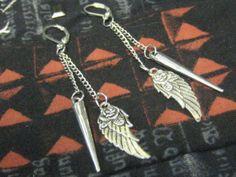 Wings and Spike Dangle Earrings Spike Earrings by SpoiledRockN, $10.00