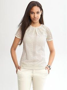 Pleated lace top  New Arrival    regularpetite  #904760  prices may vary  Color: Cocoon  $69.50