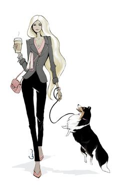 Fashion illustration of a blonde woman with a Sheltie dog by Erika Reponen Art. Catwalk pose, coffee cup, chanel bag, pink details, bracelets, grey jacket, pink shoes, businesswoman