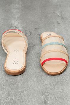 Show Me How Beige Multi Slide Sandals 4