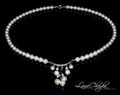 Wedding Swarovski White Pearl Necklace 925 Sterling by LanaChayka, $35.00