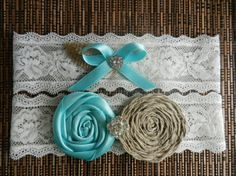 Rosette Flower Wedding Garter, Bridal Garter, Color Lace garter, Blue, Coral, lavender, purple, royal blue, turquoise burlap ribbon bow