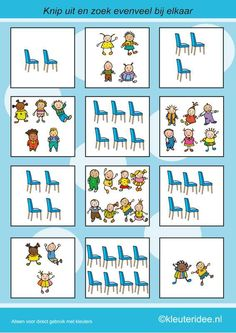 Find as many chairs as children, kleuteridee.nl, calculating with preschoolers, free printable. Learning Numbers, Math Numbers, I Love School, Pre School, Printable Preschool Worksheets, Free Printable, Kindergarten Activities, Teaching Kids, Elementary Schools