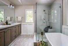 Contemporary Full Bathroom with Freestanding Bathtub, Handheld Shower Head, Limestone Tile, Drop-In Sink, Flat panel cabinets