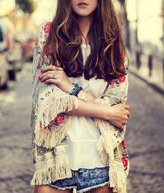 fashion women Spain style chiffon kimono cardigan tassel Regular Floral print blouse mujer ropa camisas femininas blusas alishoppbrasil