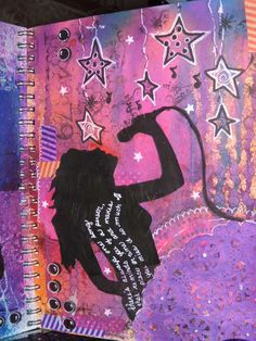 dylusions ink, pink, purple, blues, girl singer