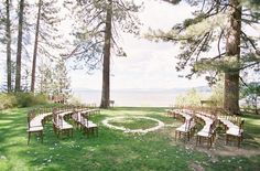 If you're in the midst of gorgeous scenery, why not try a ceremony in the round? Not only will your guests get a unique view, but you'll also be (literally) surrounded by your loved ones during that special moment. Source