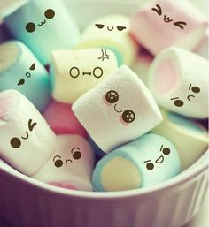 Cute Marshmallow Photo: This Photo was uploaded by JessikaKaori. Find other Cute Marshmallow pictures and photos or upload your own with Photobucket fre. Cute Wallpaper For Phone, Iphone Wallpaper, Mobile Wallpaper, Image Swag, Cute Marshmallows, Decorated Marshmallows, Kawaii Cute, Kawaii Stuff, Kawaii Things