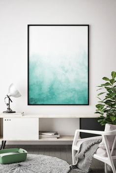Green Blue Wall Art, Teal Abstract Digital Print, Abstract Watercolor Print Wall Art, Teal Pattern Print, Teal Art, Teal Decor Abstract