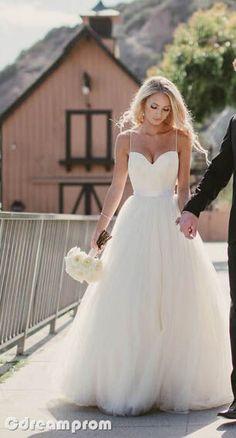 2015 Spaghetti Strap Tulle Wedding Dress Bridal Gown Custom Size 4 6 8 10 12 14+