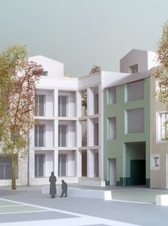Caruso St John won this commission for an apartment building in Antwerp, with 36 flats, shops and offices, in a limited competition organised by the City. The L-shaped apartment building designed by Caruso St John . Urban Interior Design, Architecture Model Making, Arch Model, Presentation Layout, Paper Models, Building Design, Facade, House Styles, Architectural Drawings
