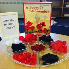 Invitation to create poppies using loose parts. Remembrance Day Activities, Remembrance Day Art, Welcome To Kindergarten, Kindergarten Centers, Eyfs Classroom, Classroom Ideas, Poppy Craft, Remember Day, Festival Celebration