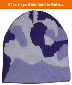 N'Ice Caps Kids Double Knitted Camo Print Beanie (4-9yrs, purple camo). N'Ice Caps TM kids double layered two ply camo print beannie. Pull it over the head as is or roll up cuff. Colors: green camo, neon pink/neon orange/neon blue, purple/lavender/winter white, black/charcoal grey/silver grey, black/neon yellow/neon blue. Sizes: One size fits 2-3yrs, one size fits 4-7yrs, one size fits 8-12yrs, one size fits Adult M. Tested and approved as per CPSIA standards.