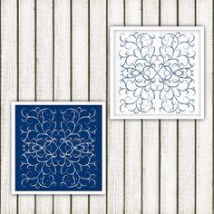 Scratch doodle Blue Printable Art Set by DigitalPrintArtShop
