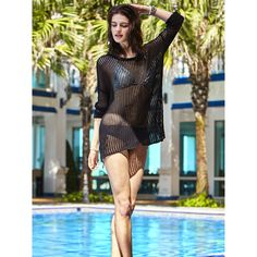 MG Collection Black Crochet Long Sleeve Boat Neck Beach Top / Swimsuit Coverup