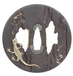 An inlaid iron tsuba  After Hamano Masayuki, 19th century