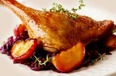 Photo about Roasted duck leg with red cabbage and apples for Christmas. Image of gourmet, root, homemade - 34264175 Roasted Duck Breast, Cooking Fresh Green Beans, Beef Round, Roast Duck, Types Of Meat, Red Cabbage, How To Cook Shrimp, Turkey Breast, Cooking Classes