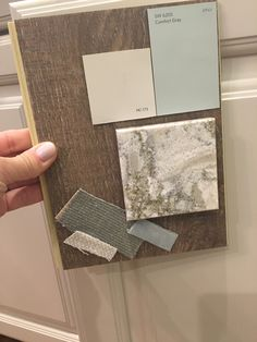 The Beckoning Beach House design elements are coming together. Benjamin Moore Edgecombe Gray for walls, SW 6205 Comfort Gray for interior doors. Cambria Berwyn oyster shell quartz on the counters, crackled off whitehandmade subway tile, Dover cabinets. Mocha distressed tile plank flooring. Sunbrella fabrics on furniture.