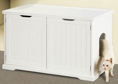 Something like this will be perfect for a small apartment. Cat Washroom Bench Litter Box Enclosure