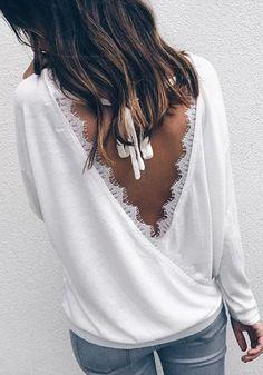 86e1af4cbab792 Weiß Spitze Tiefe V Rückenfreies Langarm Oversize Beiläufiges T-Shirt  Günstig Oberteile Damen