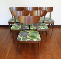 Set of Six Mid Century Dining Chairs with Original by athomemodern, $750.00