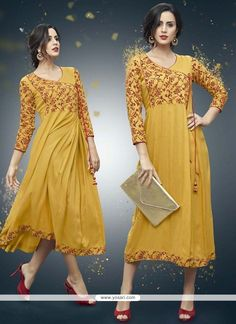 Shop readymade yellow rayon printed kurti , freeshipping all over the world , Item code Tunic Designs, Kurti Neck Designs, Salwar Designs, Pakistani Outfits, Indian Outfits, Pakistani Clothing, Indian Clothes, Kurti With Jacket, Kurta Patterns