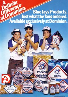 A fun Dominion grocery store ad from 1980 featuring an array of Toronto Blue Jays endorsed foods. Vintage Advertisements, Vintage Ads, Vintage Food, Retro Food, Vintage Shops, Retro Recipes, Vintage Recipes, Sports Marketing, Childhood Days