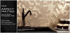 DIY backsplash - aluminum peel & stick. No need for tile setters.