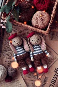 Crochet Bunny, Cute Crochet, Crochet Ideas, Newborn Crochet Patterns, Crochet Patterns Amigurumi, Knitting Toys, Knitting Ideas, Handmade Ideas, Handmade Toys