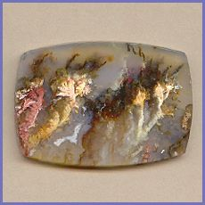 Regency Rose Plume Agate cabochon,  pink, gold, and chocolate brown plumes in translucent agate,  61mm x 43mm