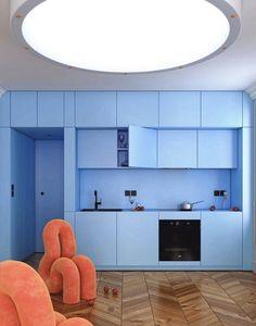 Apartment Interior, Kitchen Interior, Kitchen Design, Cool Furniture, Furniture Design, Camper Interior Design, Pastel Interior, House Inside, Interior Design Inspiration