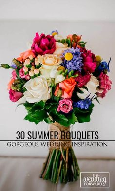Summer Wedding Bouquets ❤ Summer brides are lucky to have the most beautiful flowers in season for their wedding bouquet. #flowersforthebride