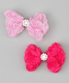 Take a look at this Pink Rosette Bow Clip Set by Charlotte Rose Couture on #zulily today!