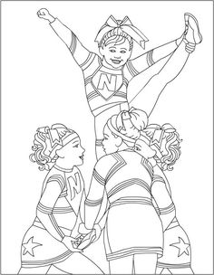 cheerleader color pages printables Cheerleading Coloring Pages