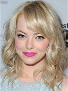 Emma Stone Unique Pretty Medium Shoulder Length Wavy Blonde Full Lace Wig 100% Human Hair about 14 Inches Item # W2115    Original Price: $860.00 Latest Price: $261.39
