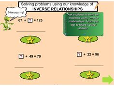 This terrific SMART Notebook lesson explicitly explores the connection between addition and subtraction. Beginning with a review of basic fact families, there are video demonstrations and lots of opportunities for students to develop their understanding of inverse operations. https://interactivelessons.com.au/