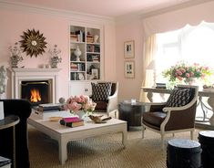 pink living rooms.