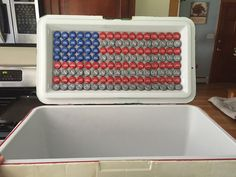 Make your own USA – American flag out of used bottle caps (red, white, blue) 136 total blue, 56 red, 56 white – Phi Mu – New Epoxy Nola Cooler, Diy Cooler, Coolest Cooler, Beer Cooler, Frat Coolers, Painted Fraternity Coolers, Formal Cooler Ideas, Cooler Connection, Cooler Designs