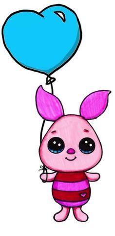 Piglet Kawaii Disney, Cute Disney, Disney Art, Kawaii Girl Drawings, Disney Drawings, Arte Do Kawaii, Kawaii Art, Images Kawaii, Kawaii Doodles