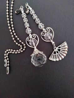 Silver and crystal pulls, light pull extension, lighting. Decorative Ceiling Fans, Ceiling Fan Pulls, Light Pull, Pull Chain, Beaded Jewelry, Jewellery, Bead Caps, Or Antique, Crystals