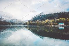 Lake and autumn Forest Landscape by e v e r s t on @creativemarket