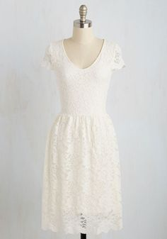 Pretty Policy Dress. Satisfy all of your personal style criteria with this white A-line! #white #modcloth