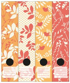 Wallpaper inspired bird and leaves in white, red and orange. Self-adhesive Lever Arch labels. 4 different labels in a packet.