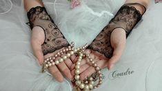 Wedding collection by AMD à Coudre, MITAINES de Dentelle Noire, gants de mariée